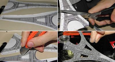 como fazer enfeite para a mesa dos convidados casamento torre eifeel com glitter