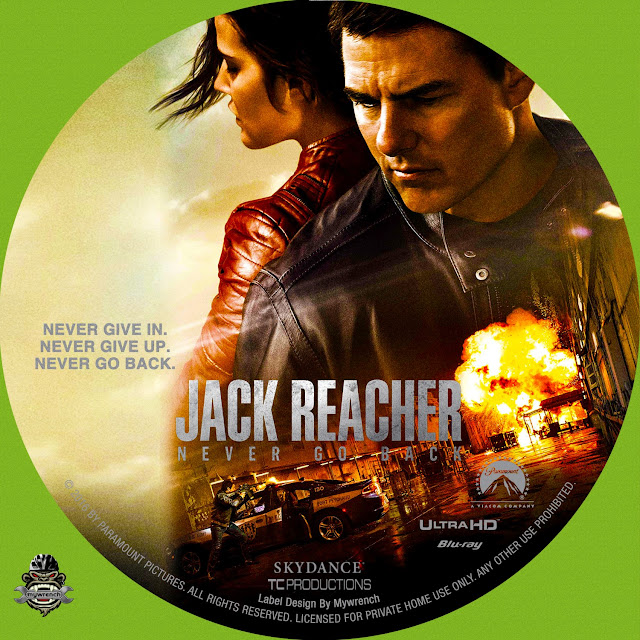 Jack Reacher Never Go Back 4K Bluray Label