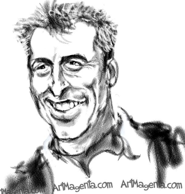Matt Leblanc caricature cartoon. Portrait drawing by caricaturist Artmagenta
