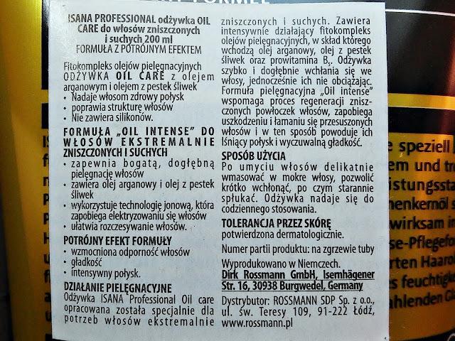Isana Professional, Spülung Oil Care - Odżywka do włosów suchych i zniszczonych, etykieta