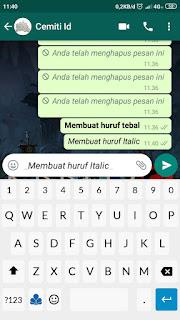 Cara membuat Tulisan Miring ( Italic ) pada Chat Whatsapp