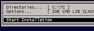 Turbo C: start installation