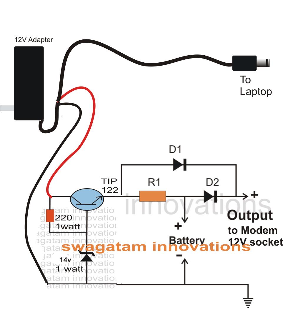 دارة بسيطة للتحويل بين البطارية و الكهرباء دون ان يفصل