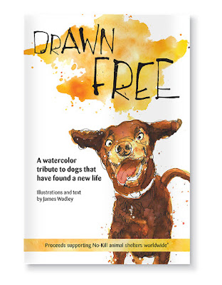 Drawn Free watercolour sketches of rescue dogs - book by James Wadley