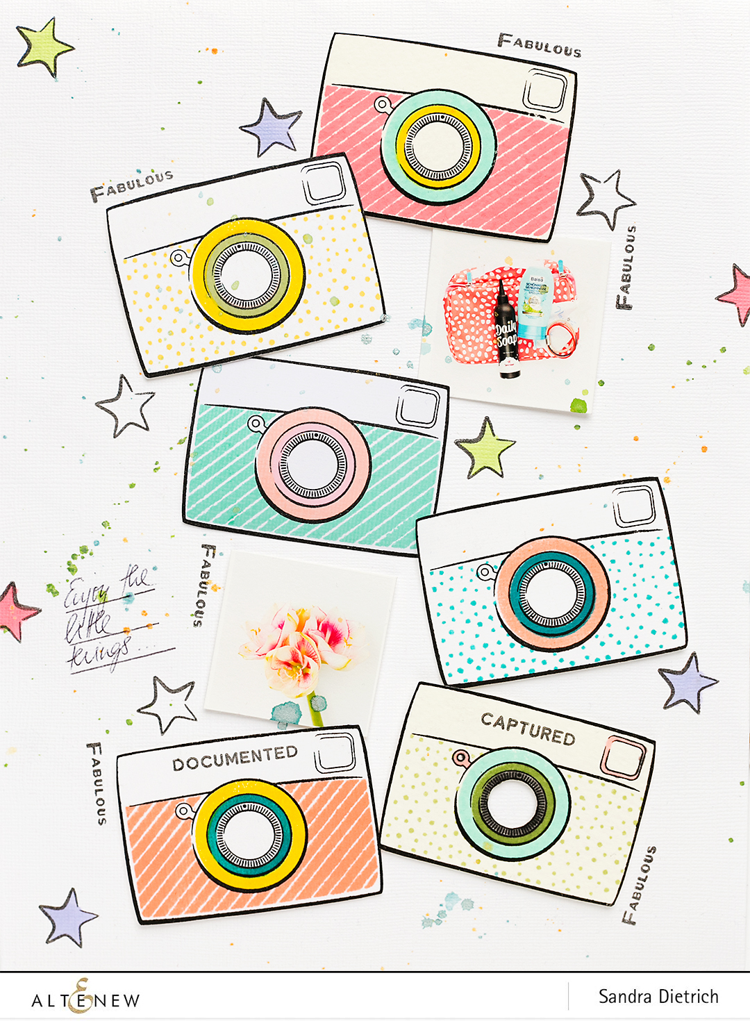 @SandraDietrich for @Altenew Scrapbook Layout with Cameras
