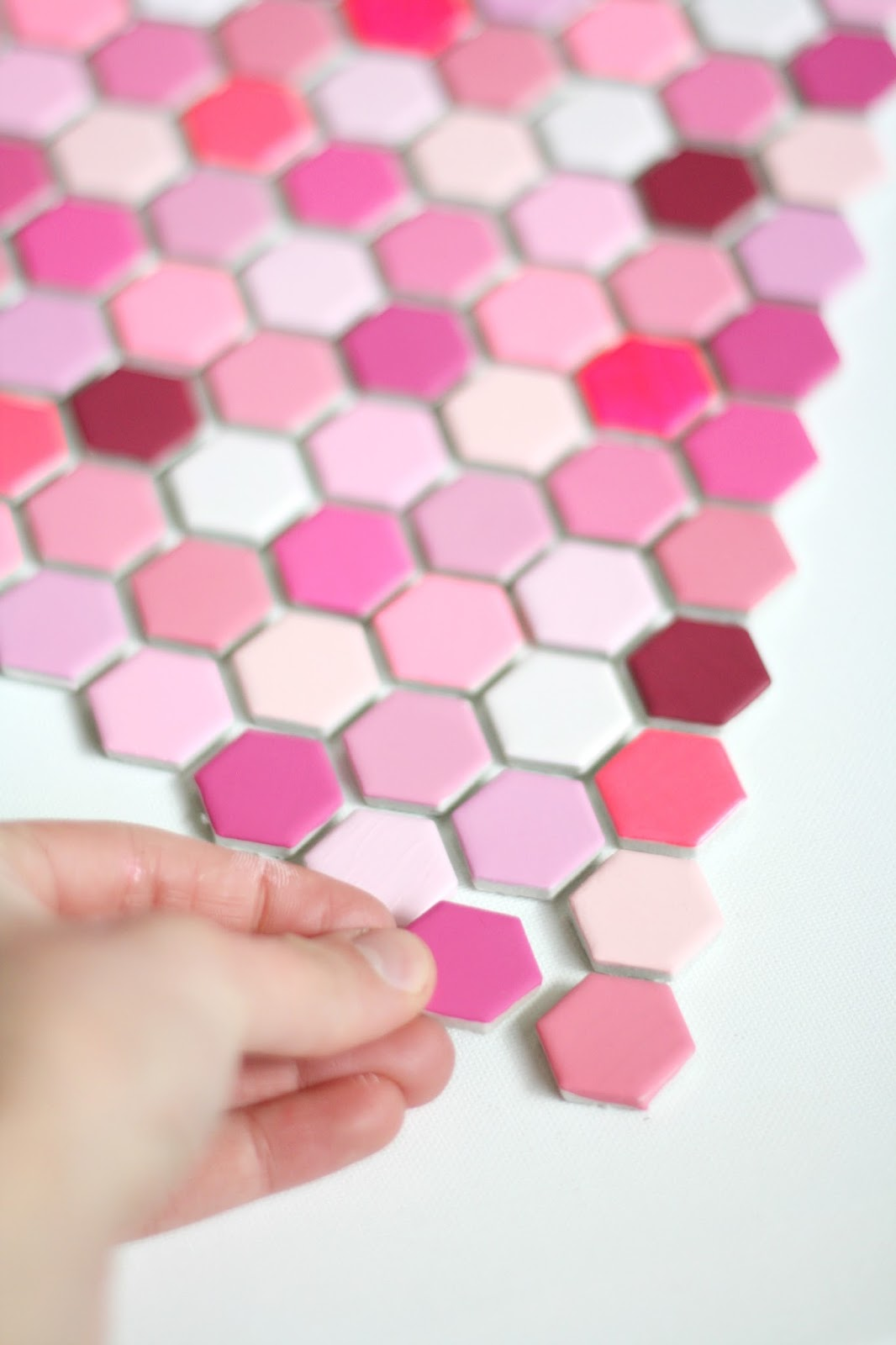 diy hexagon tile heart art 4