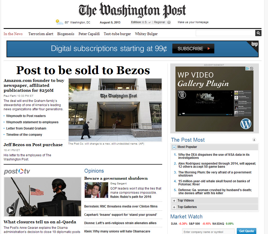 Critical Distance Insights Opinions Washington Post Just Sold To Jeff Bezos For 250m