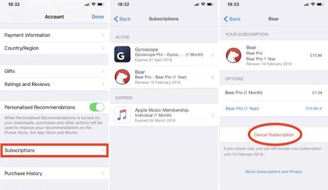الغاء الاشتراكات على iPhone أو iPad