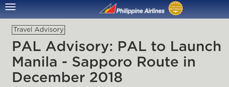 Newest Route of PAL - Direct Flights from Manila to Sapporo and Viceversa