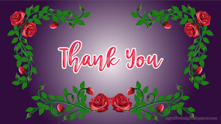 Thank You Card Design With Handwriting Text And Rose Vines Flourishes