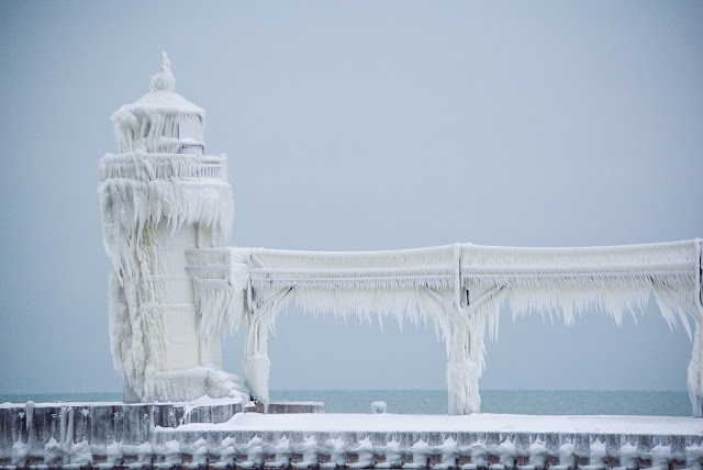 Frozen Lighthouse St. Joe Michigan