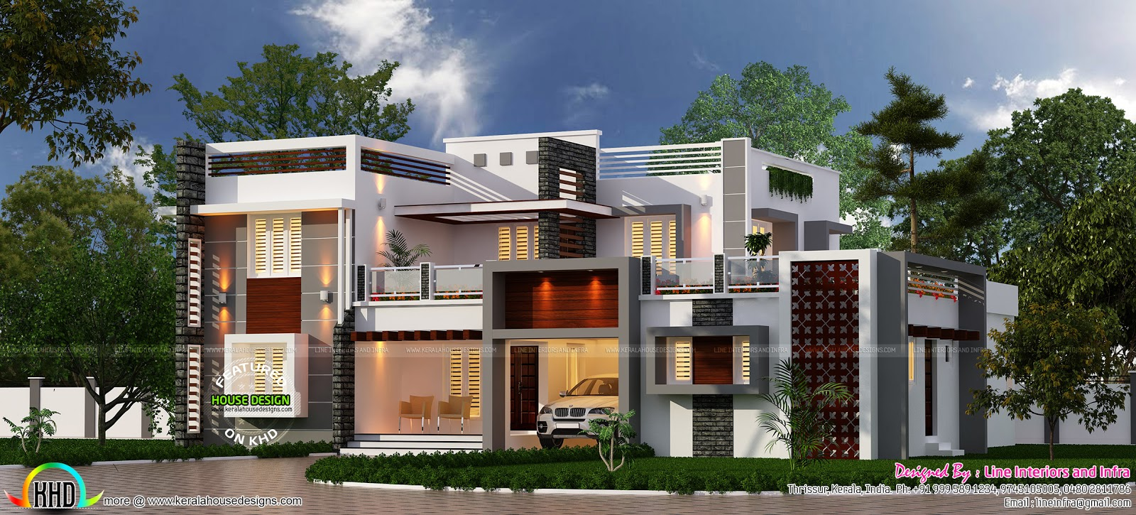 3815 square feet 4 bedroom box type home kerala home for Modern box house design