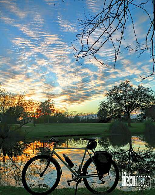 Picture of Bridgestone Mountain Bike for touring with colorful skies in League City, Texas