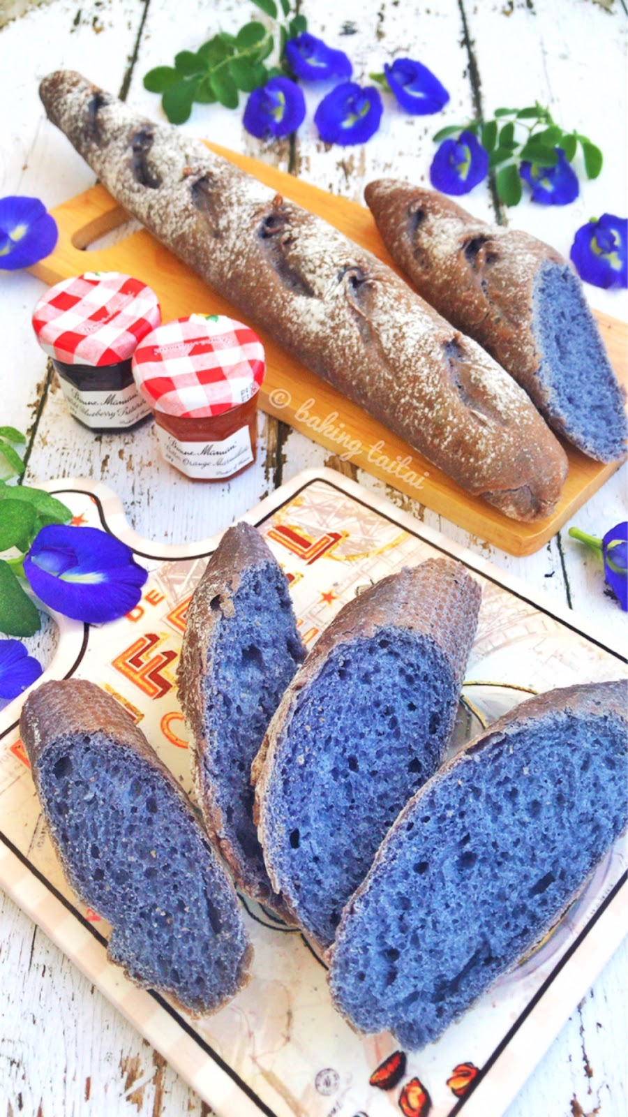 Baking Taitai 烘焙太太: Easy Butterfly Pea Baguettes 简易紫