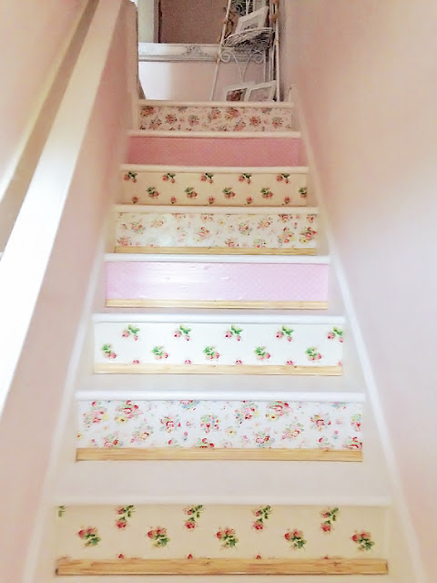 stairs with wallpaper steps