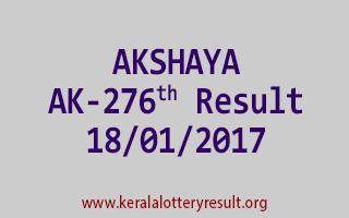 AKSHAYA AK 276 Lottery Results 18-01-2017