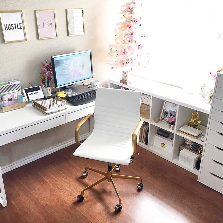 white and gold office chair, blush and gold glam room, pink and gold office, holiday decor in an office