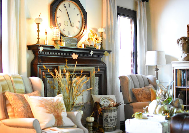 via Follow The Yellow Brick Home Vintage Cottage Style Early Fall Home Tour Fall Living Room