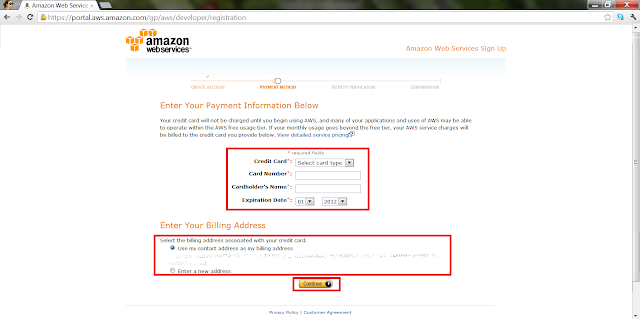 AWS Create Account - Credit Card Information