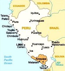 Dibujo del Mapa del perú donde se ubica Arequipa