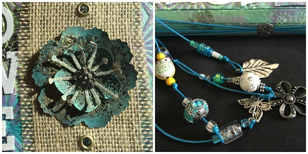 Close up of patina flower on burlap & another of beads hanging off the sping of the journal.