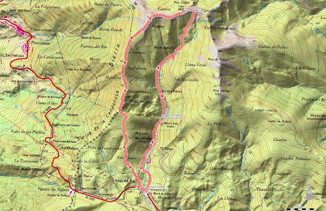 Ruta Pico Cellón: Mapa de la ruta al Cellon desde Arbás del Puerto