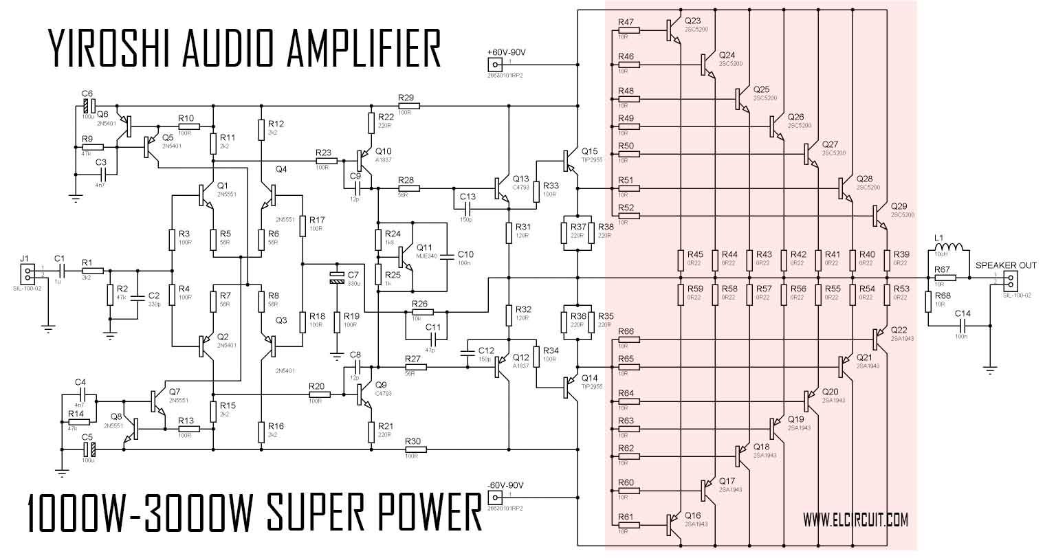 Super Power Amplifier Yiroshi Audio 1000 Watt Electronic Circuit