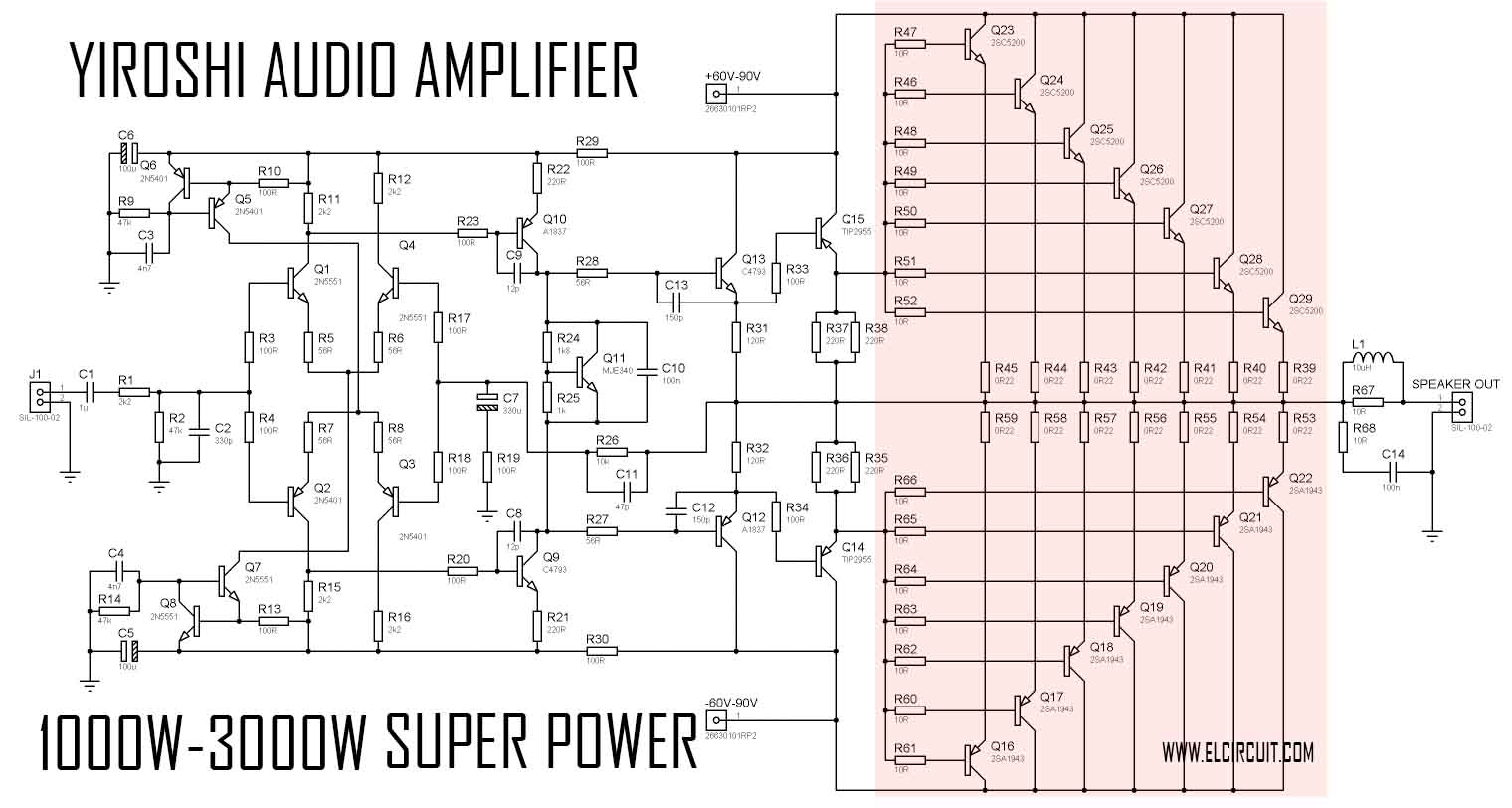 Power Audio Amplifier Circuit Diagram | 200 Watt Audio Amplifier Circuit Diagrams Wiring Library
