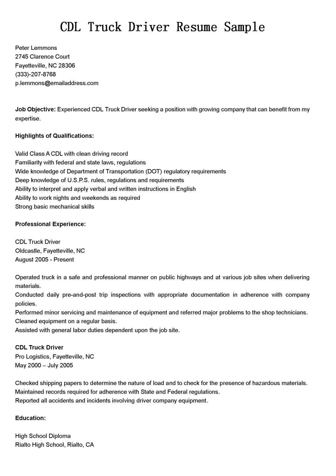 Cdl Driver Resume Sample Driver Resumes Cdl Truck Driver Resume Sample