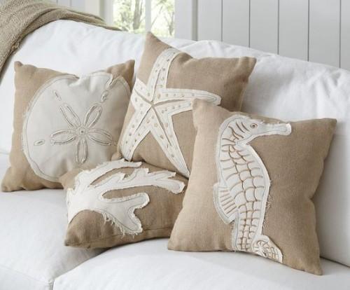 coastal beach theme throw pillow