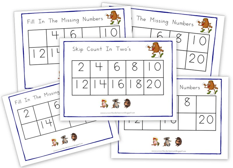 australian themed skip counting in two 39 s printables. Black Bedroom Furniture Sets. Home Design Ideas