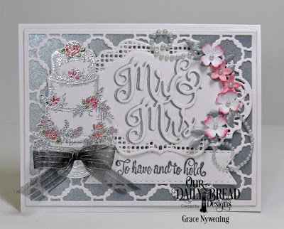 Our Daily Bread Designs Stamp Set: Long Lasting Love, Custom Dies: Scalloped Chain, Mr & Mrs, Roses, Bitty Blossoms, Fancy Foliage, Double Stitched Pennant Flags, Vintage Borders