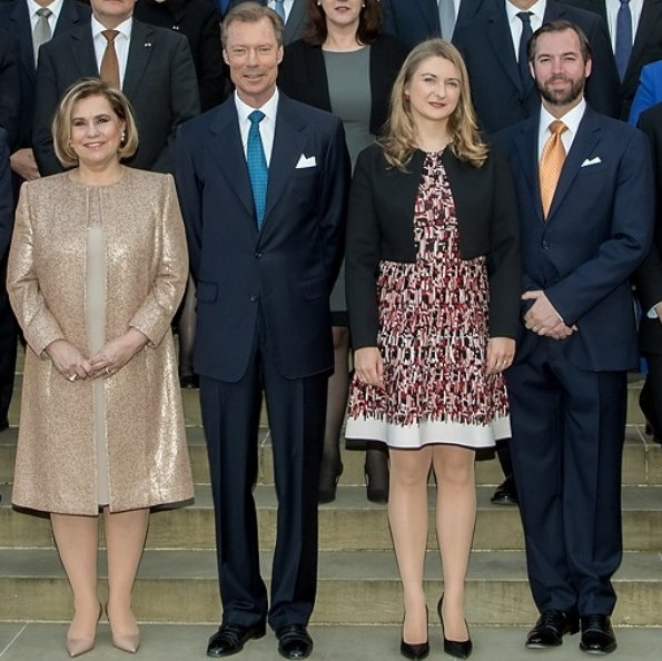 Grand Ducal Family; Grand Duke Henri, Grand Duchess Maria Teresa and Hereditary Grand Duke Guillaume and Hereditary Grand Duchess Stéphanie