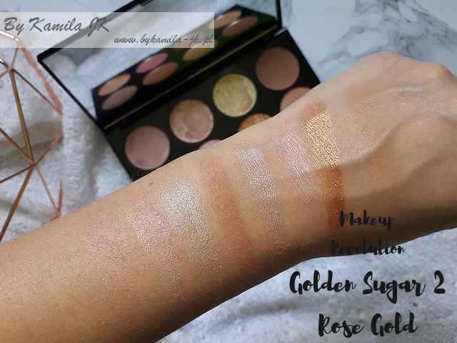 Makeup Revolution paletki różów Blush Palette Golden Sugar 2 Rose Gold swatch