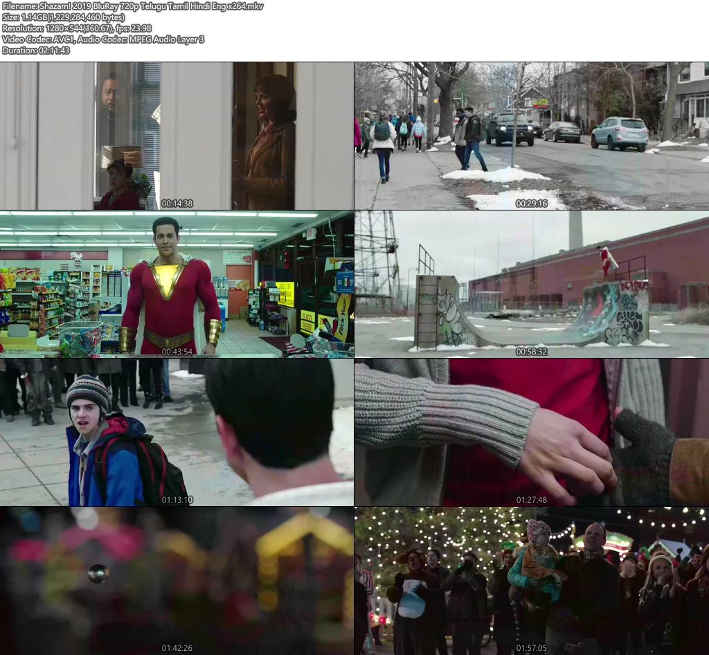 Shazam! 2019 BluRay 720p Telugu Tamil Hindi Eng x264 | 480p 300MB | 100MB HEVC Screenshot