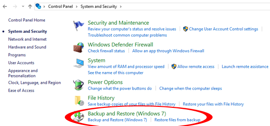 Backup and Restore Windows 10