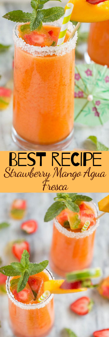 Strawberry Mango Agua Fresca #cocktail #smoothie