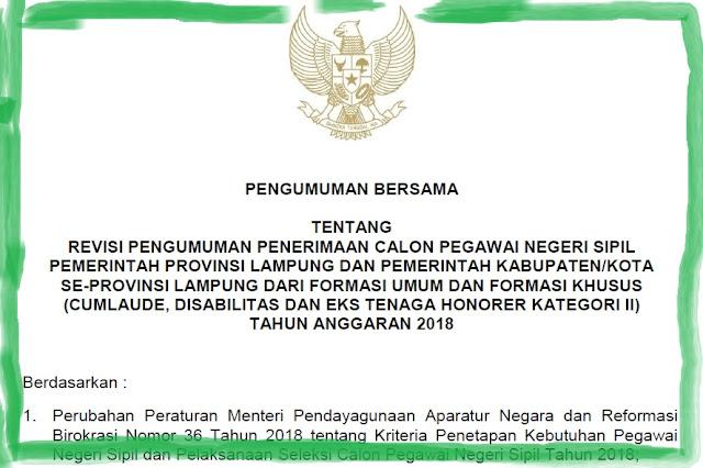 Perubahan Syarat Akreditasi dan Jadwal Penerimaan CPNS 2018 Se-Provinsi Lampung
