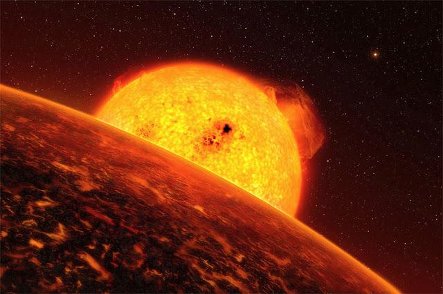 Ilustração de exoplaneta próximo de sua estrela