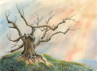 watercolor painting, tree art, colorful artworks