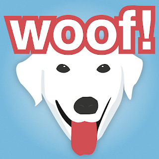 Blue and white logo features a friendly stylized dog.