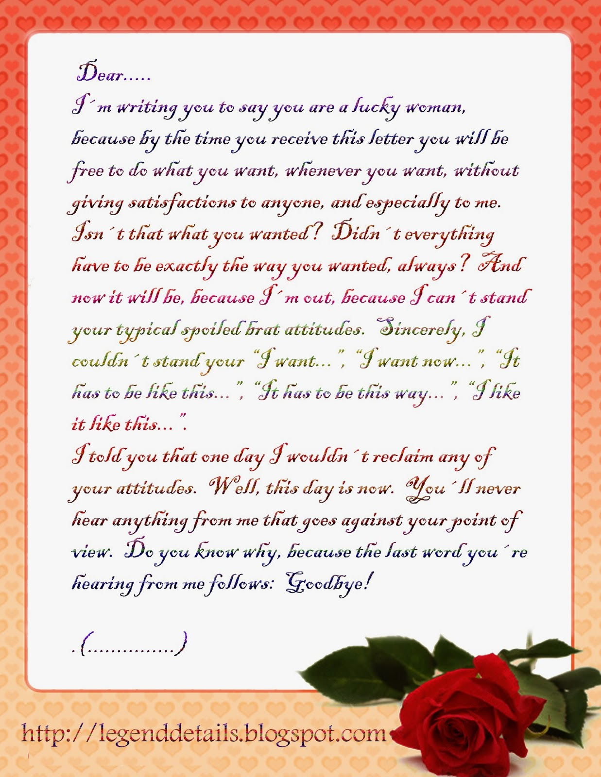 love breakup letter