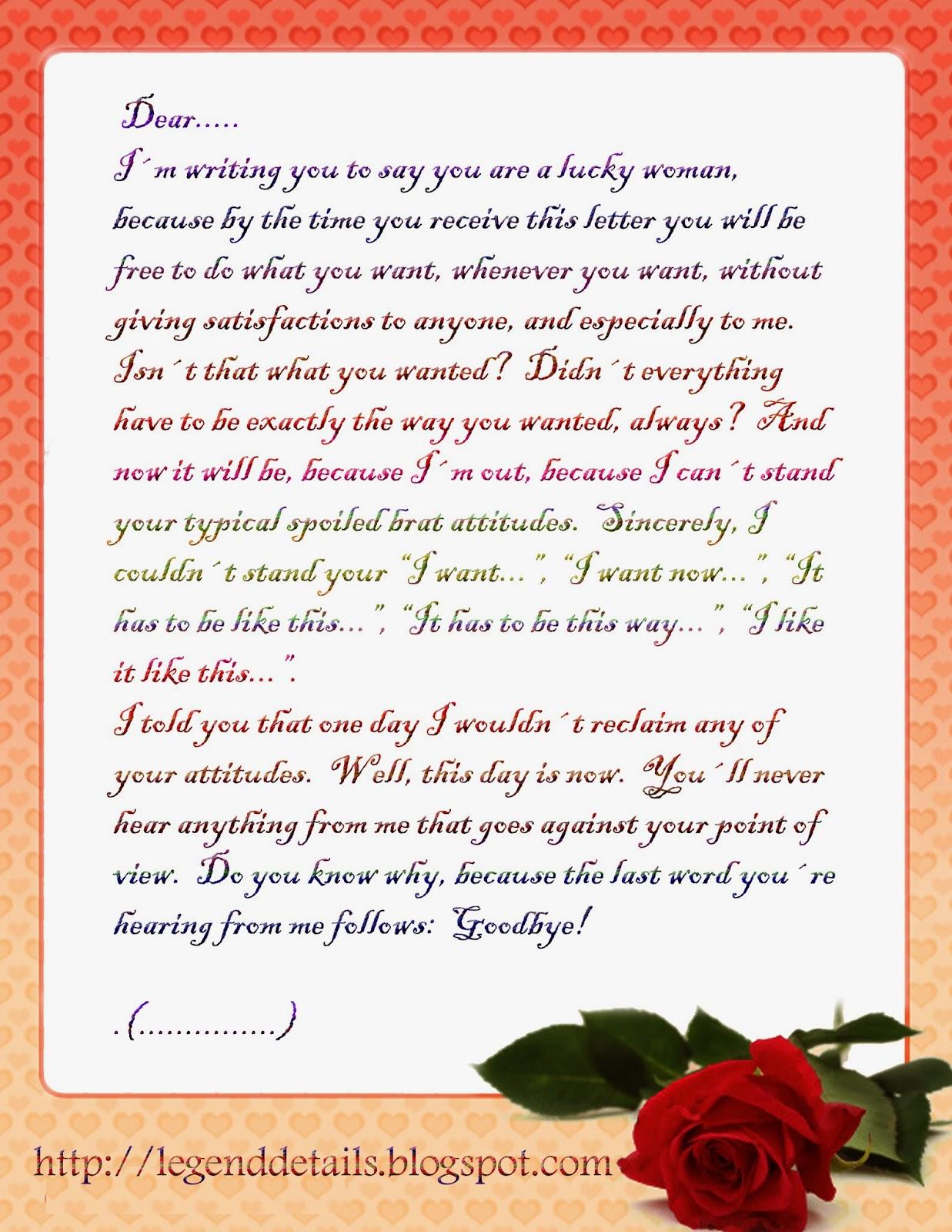 Love Breakup Letter Legendary Quotes