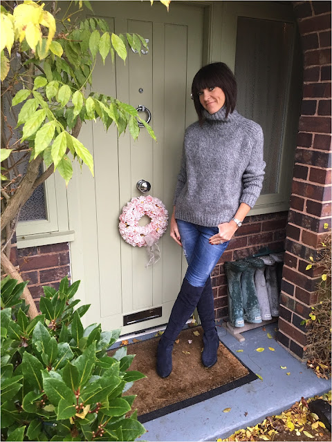 My Midlife Fashion, Zara Chunky Knit Polo Neck, Skinny Jeans, Clarks Caddy Belle Over The Knee Boots
