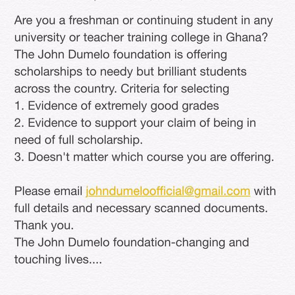 john dumelo scholarship application