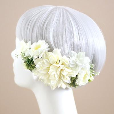 ダリアの髪飾り-ウェディングブーケと花髪飾りairaka