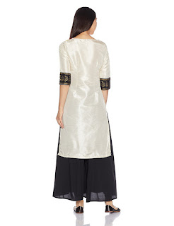 W for Woman synthetic kurta with pink, yellow, black, white colored front and white colored back