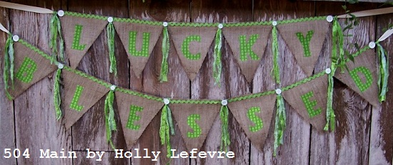 Lucky and Blessed Burlap Banner | Easy St Patrick's Day Decorations | Sewing Projects | Featured