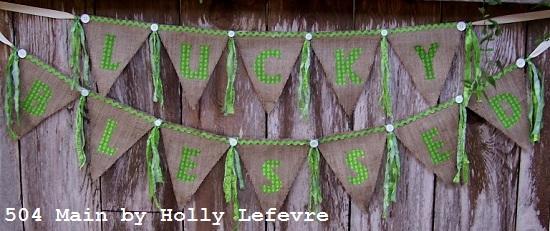 幸运和祝福麻布横幅|轻松的圣帕特里克节装饰|缝纫项目|精选