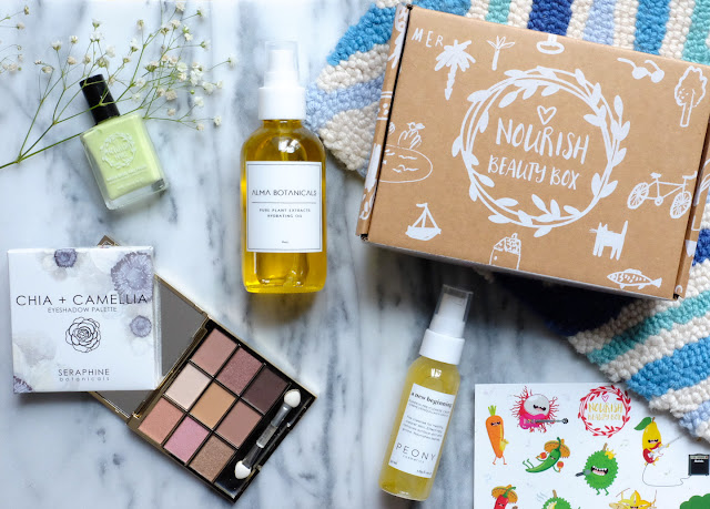 April's Nourish Beauty Box featuring Alma Botanicals Hydrating Oil; Peony Botanicals A New Beginning - Pumpkin Pre-Cleanse Cream; Seraphine Botanicals Chia + Camellia Eyeshadow Palette;  Nourish Nails - Follow your Bliss
